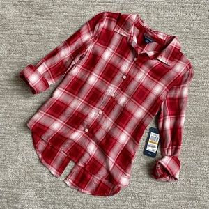NWT girls Tommy Hilfiger red plaid button down S 7